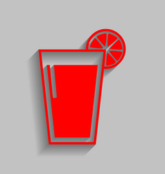 Glass of juice icons red icon with soft vector