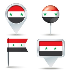 Map pins with flag of syria vector