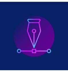 Pen tool purple icon vector