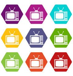 retro tv icon set color hexahedron vector image