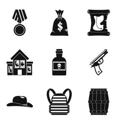 Robbery icons set simple style vector