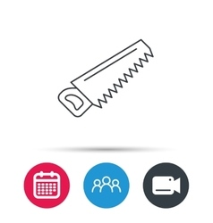 Saw icon carpentry equipment sign vector