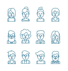 Set people head with hairstyle design vector