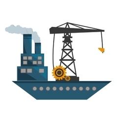 Ship cargo crane chimney pollution vector