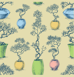 Small trees in pots seamless pattern bonsai vector