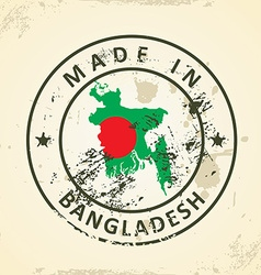 Stamp with map flag of Bangladesh vector image vector image