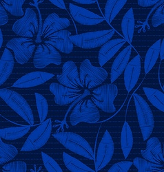 Tropical navy embroidery hibiscus and pin stripes vector image