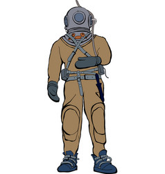 Vintage deep sea diver suit vector