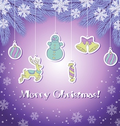 Violete christmas greeting card vector image vector image