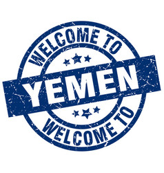 Welcome to yemen blue stamp vector