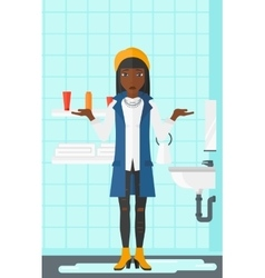 Woman in despair standing near leaking sink vector image vector image