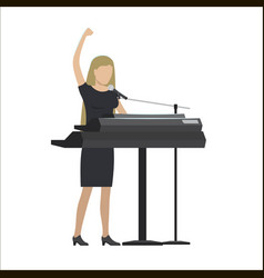 Woman playing synthesizer in musical group vector
