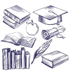 Books education vintage set hand drawn vector