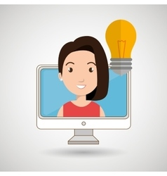 Woman thinking creating bubble vector