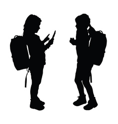 child with tablet silhouette in black color vector image