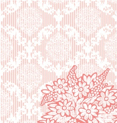 Pink vintage damask background vector