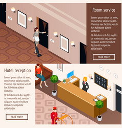 Hotel service isometric horizontal banners vector