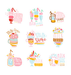 milk shake labels set colorful hand drawn vector image