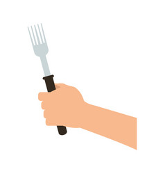 Hand holding fork icon image vector