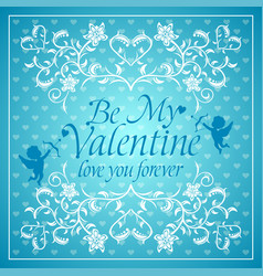 Blue valentines day background card with cupid vector