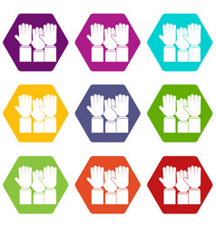different people hands raised up icon set color vector image