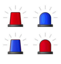 Red and blue police flasher siren set vector