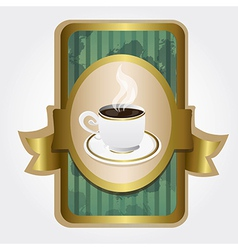 Coffee cup on label vintage turquoise and gold vector