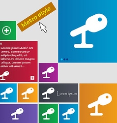 Microphone speaker icon sign metro style buttons vector