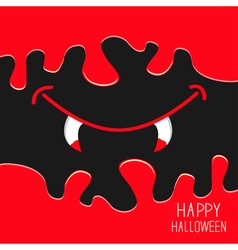 Vampire fangs happy halloween flat vector
