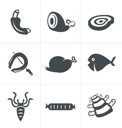 Various meat icons set vector
