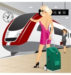 Woman standing with a trolley suitcase vector