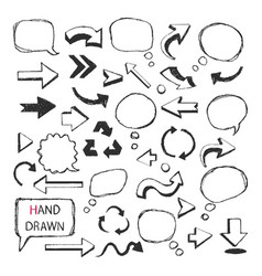 Hand drawn arrowsspeech bubbles vector