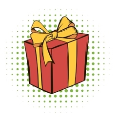Gift box comics icon vector