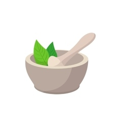 White mortar and pestle cartoon icon vector