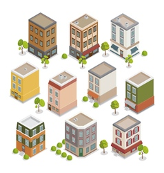 Isometric city buildings set european houses vector