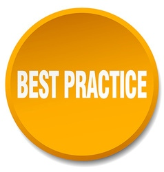 Best practice orange round flat isolated push vector