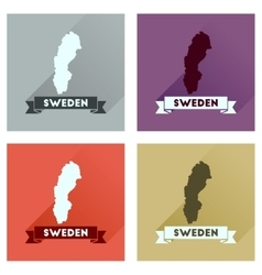 Concept flat icons with long shadow sweden map vector