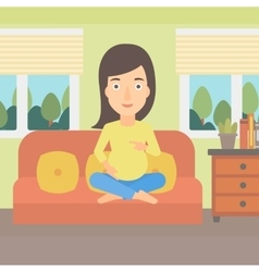 Pregnant woman sitting on sofa vector