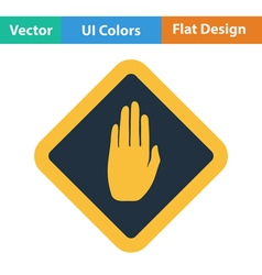 Flat design icon of warning hand vector