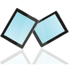 Touch screen tablet computer with blue screen vector