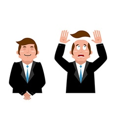 Businessman set joyful man in suit man and wig vector