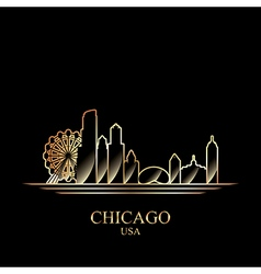 Gold silhouette of chicago on black background vector