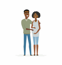 African couple expecting a baby - cartoon people vector