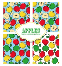 Apple colored doodle seamless pattern vector image