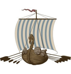 Battle viking ship vector
