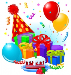 birthday decorations vector image
