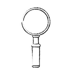 Blurred silhouette front view magnifying glass vector