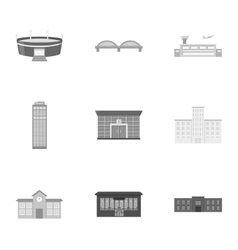 Building set icons in monochrome style big vector