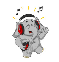 cartoon listening to music on headphones vector image vector image