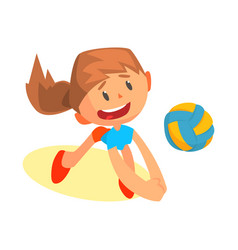 cheerful teen girl volleyball player in uniform vector image
